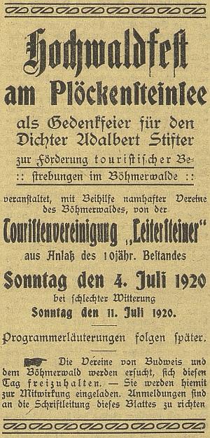 """Pozvánka na """"slavnost Hvozdu k památce Adalberta Stiftera"""", kterou s pomocí jiných šumavských spolků uspořádalo turistické sdružení """"Leitersteiner"""" u příležitosti 10. výročí svého trvání dne 4. července 1920 (za špatného počasí týden nato)"""