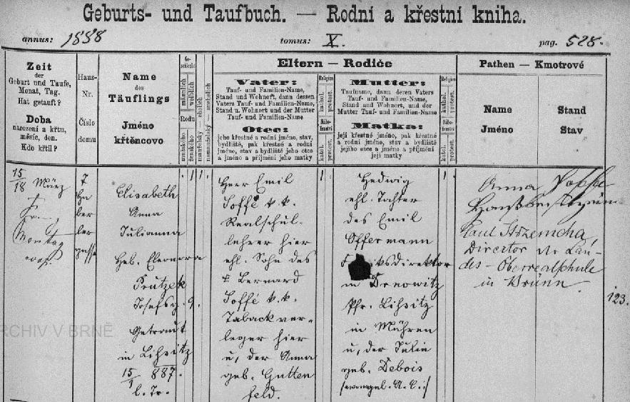 Záznam o jejím narození v brněnské křestní matrice