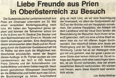 Její text večtrnáctideníku rakouského krajanského sdružení zmiňuje i Franze Zahorku