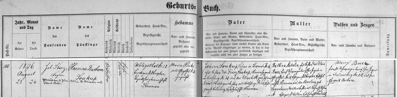 Záznam želnavské matriky o narození dcery Herminy Barbory v Uhlíkově s pozdějším přípisem o její českobudějovické svatbě