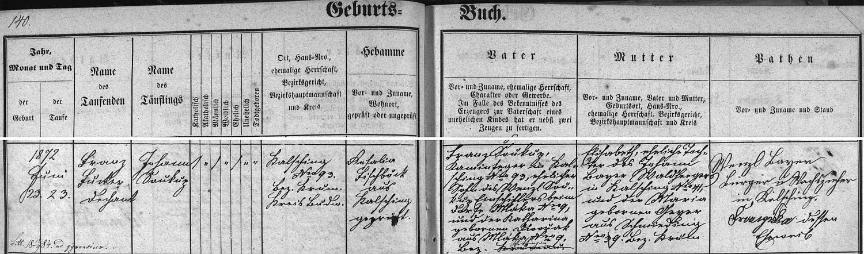 Záznam chvalšinské křestní matriky o jeho narození