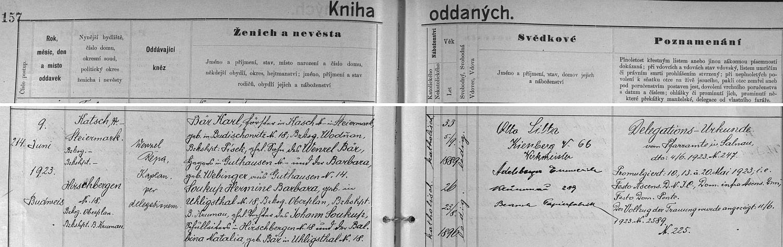Záznam českobudějovické oddací matriky o zdejší svatbě jeho dcery