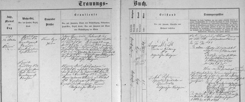 Záznam o svatbě jejích prarodičů v oddací matrice farní obce Šenava