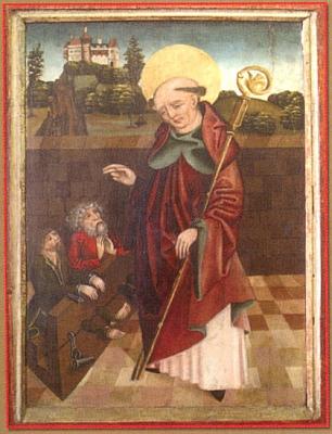 Tři obrazy z gotické archy znázorňující Zvěstování Panny Marie, utrpení mučedníků pod Kristovým křížem a sv. Linharta