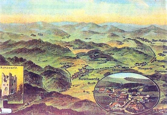 """Stará panoramatická pohlednice okolí dnešní obce Strážný s výrazným zachycením zaniklých osad Slatina(Filz), Samoty či také Orlovka(na pohlednici Röhrenhütte, má ovšem být Röhrenbergerhütte či také Adlerhütte) aKořenný (Schlösselbachel), dále pak Hliniště (Leimsgrub) a Řasnice (Pumperle) - """"fürstliche Villa"""" při někdejším Kunžvartu je zřejmě výstavná a dodnes stojící schwarzenberská myslivna"""