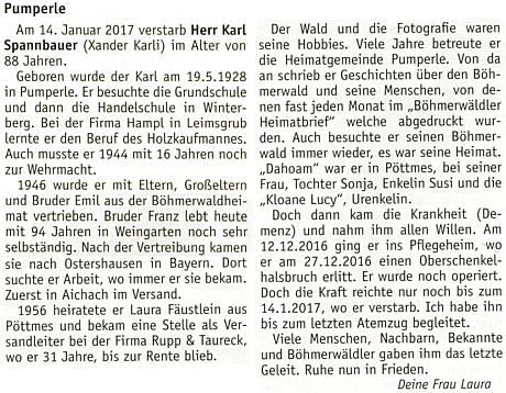 Jeho nekrolog na stránkách krajanského měsíčníku, pod nímž je podepsána jeho žena Laura, roz. Fäustleinová
