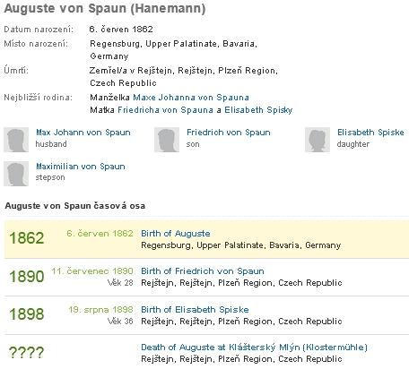 Rodopisná data jeho druhé ženy Augusty, roz. Hanemannové zŘezna, pochované s datem úmrtí 1947 v Rejštejně