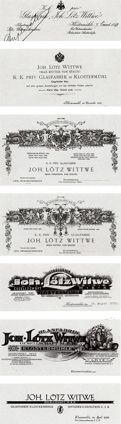 Záhlaví dopisních papírů firmy Johann Lötz Witwe (Wittwe) v Klášterském Mlýně z let před rokem 1889, koncem roku 1889, 1893, 1906, 1925, 1928 a 1931...