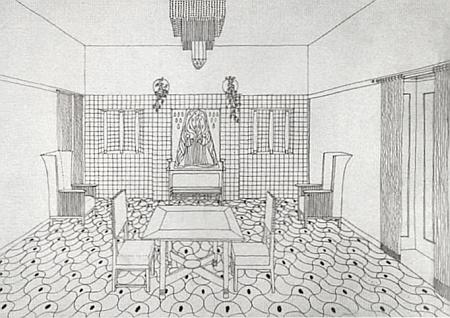Návrh Leopolda Bauera z roku 1903 na exteriér Spaunovy vily a interiér její haly v Klášterském Mlýně