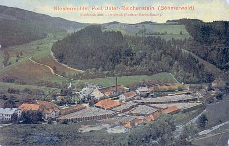 Stará pohlednice Klášterského Mlýna, na níž je uveden jako majitel