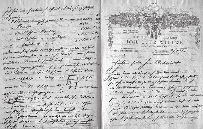 Dopis Maxe Spauna Leopoldu Bauerovi ze 7. října roku 1903