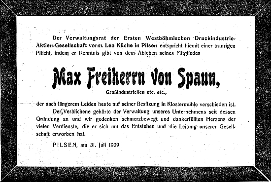 """Parte v plzeňském německém listě mu vystavila tamní """"Erste Westbömische Druckindustrie-Aktien-Gesellschaft""""     tj. """"první západočeská tiskárenská společnost"""", jejímž byl členem"""