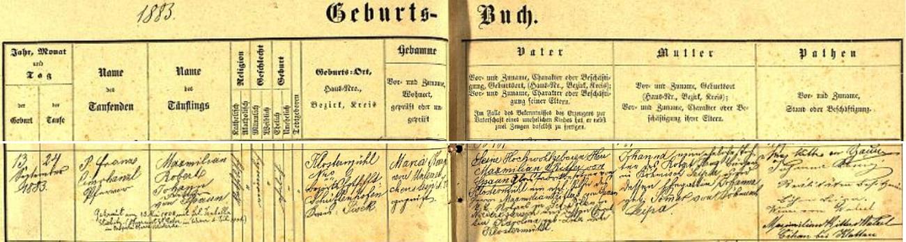 Záznam rejštejnské křestní matriky o narození jeho syna Maxmiliana Roberta dne 13. září roku 1883 vKlášterském Mlýně s pozdějším přípisem o jeho vídeňské svatbě se Isabellou Stiebitzovou