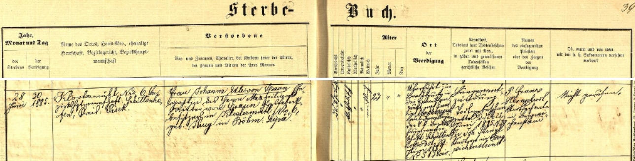 Záznam rejštejnské úmrtní matriky o skonu jeho třiadvacetileté ženy Johanny, roz. Krugové z České Lípy, dne 28. června 1885 v Klášterském Mlýně a o převozu ostatků do rodové hrobky v hornorakouské Enži (Enns)