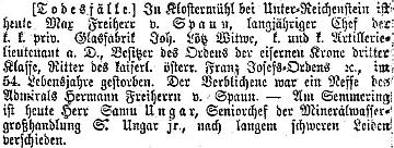 Zpráva o jeho úmrtí v renomovaném vídeňském listu