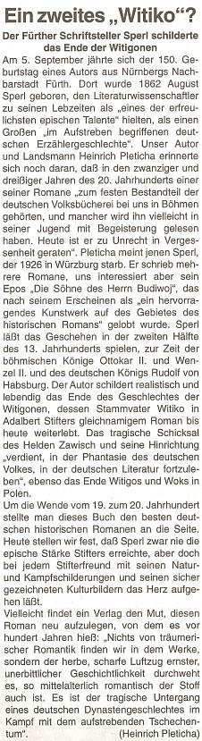Ke 150. výročí jeho narození na stránkách rakouského krajanského listu