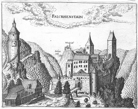 Hrad Falkenstein na rytině Georga Matthäuse Vischera (1628-1696) z roku 1674...