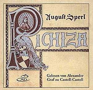 Obálka zvukové knihy (AD Verlag), z níž čte hrabě Castell-Castell, narozený na hradě, u něhož je pochován sám autor