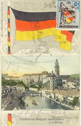 """Tady vedou dvě staré pohlednice spor o """"rakouský"""" či """"německý"""" Krumlov"""