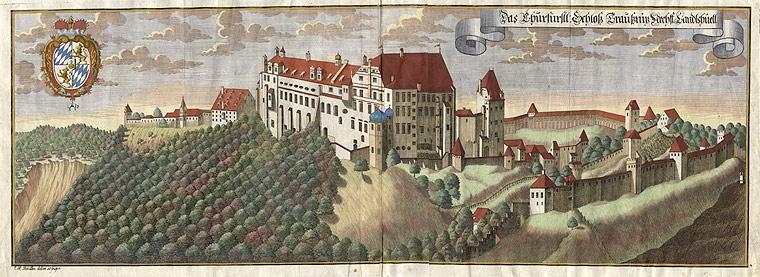 Kolorovaná rytina Michaela Weninga (1645-1718) se zpodobením zámku Trausnitz bei Landshut, kde Sperl napsal svou Krumlovanovu píseň domovskou