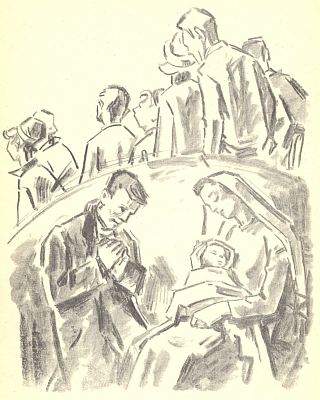 """Jednou vánoční prémií krajanského měsíčníku """"Hoam!"""" byla jeho kresba s motivem Svaté Rodiny a nevšímavého davu současníků"""