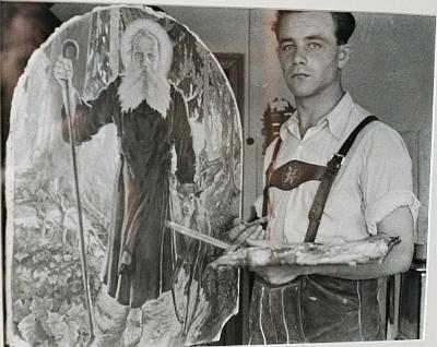 Před obrazem s podobou sv. Vintíře