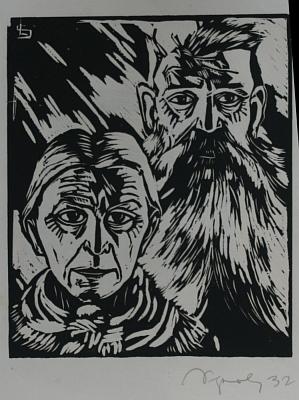 """Dřevoryt """"Manželský pár"""" z roku 1932 nese i jeho signaturu"""
