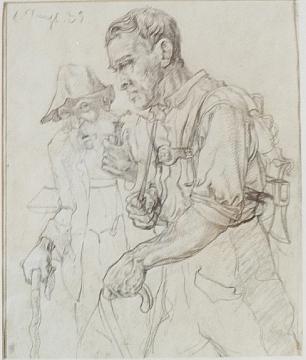 Kresba dvou mužů cestou do práce předcházela rytině z roku 1936