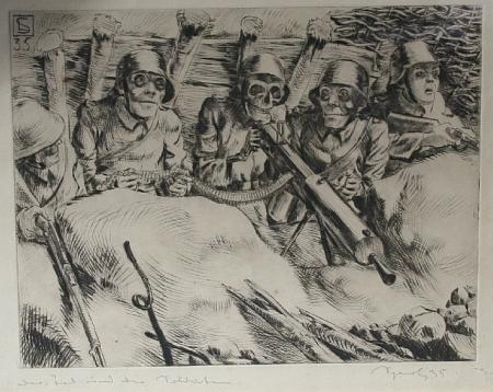 """Protiválečná rytina """"Smrt a vojáci"""" z roku 1935"""