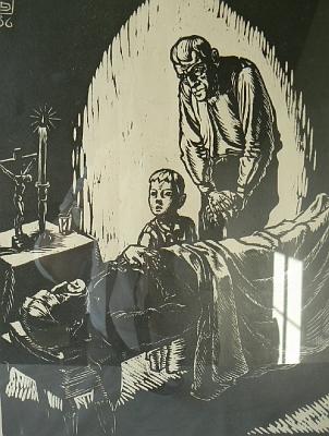 Dřevoryt ze šumavského cyklu pochází z roku 1936 areprodukce má na sobě bezděčný odraz okenního světla veskle