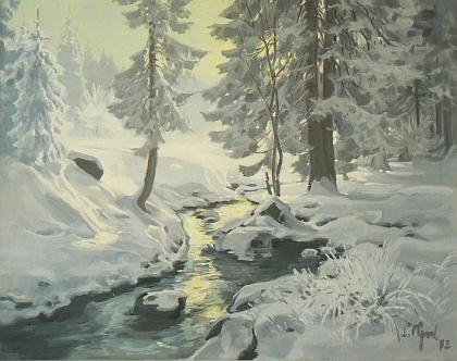 Olej se zimní krajinou z roku 1972