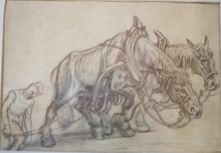 Dva motivy koní při práci a na pastvě