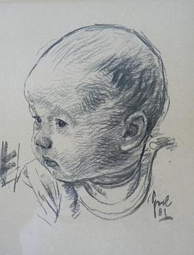 Kresba dětské hlavy z roku 1981