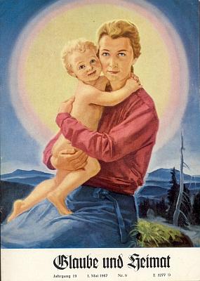 """Obálka """"prvomájového"""" čísla diecézního čtrnáctideníku tehdy bez uvedení autora reprodukovala jeho obraz """"Matka Boží na Šumavě"""" s pozadím Ostrého a Javoru (viz iMartin Wierer)"""