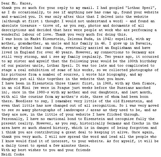 Dopis neteře Lothara Sperla, paní Heidi Cooke, která je spolu se svou dcerou autorkou webových stránek Lothar Sperl