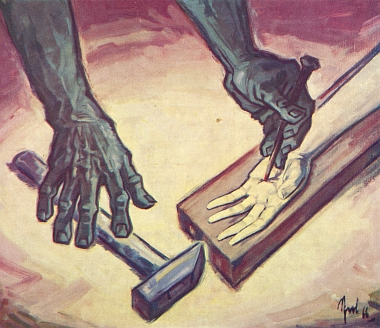 Ruce Kristovy a ruce katovy na jeho obraze z roku 1966