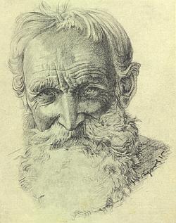 Starý šumavský dřevorubec na jedné z jeho kreseb, zde datované rokem 1935