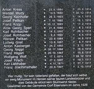 Nedaleko kaple sv. Antonína a sv. Barbora v Železné Rudě stojí tento obnovený pomník padlých z I. světové války na němž je ijméno i Aloise Georga Sperla, Lotharova otce