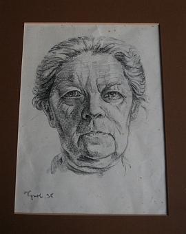 Potrét matky, kresba tužkou z roku 1935