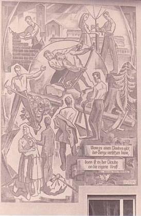 Freska s citátem Marie von Ebner-Eschenbachové, která byla ze zdi v Traunreutu na zákrok církve a CSU odstraněna