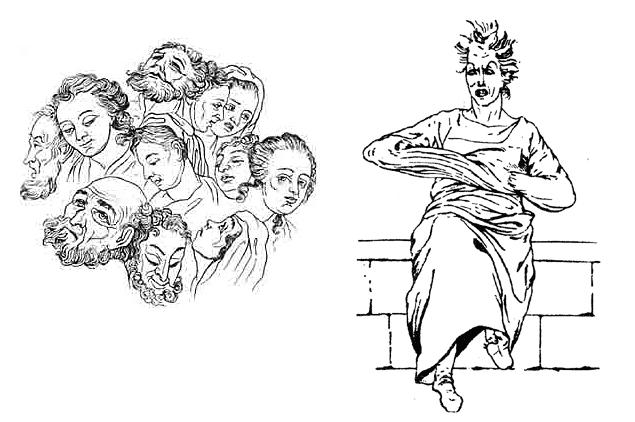 """Dvě ilustrace z vydání jeho díla """"Biographien der Wahnsinnigen"""" editorem Wolfgangem Promiesem v nakladatelství Luchterhand (1966 a 1976)"""