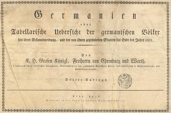 Titulní list (1824) třetího už vydání názorného přehledu dějin německy mluvících zemí (včetně Čech) vsynchronických tabulích,     vyšlého v Praze v roce úmrtí Kaspara Hermanna Künigla, Spiessova mecenáše