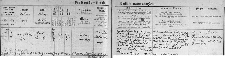 Záznam o jeho narození v prachatické křestní matrice s pozdějším přípisem o pražské svatbě v prosinci válečného roku 1939