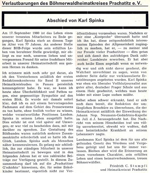 Autorem dalšího nekrologu ze stránek téhož časopisu byl Friedrich C. Stumpfi
