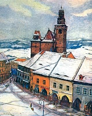 Také prachatický kostel sv. Jakuba s kusem náměstí na obrazu Václava Materny     (1888-1941) doprovází jeho texty v rodácké pamětní knize