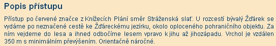 Přístup ke Žďárecké hoře podle serveru Tisícovky