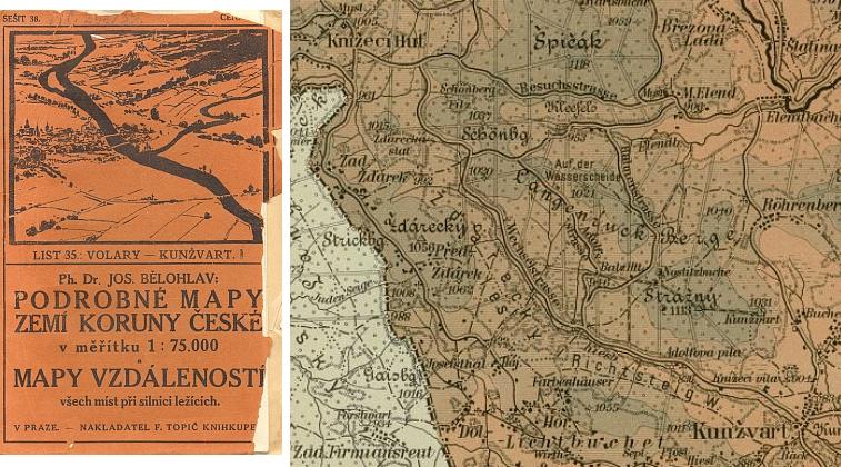 Takto zachytil v roce 1913 s místními jmény někdy i svévolně vytvořenými okolí Scheureku Dr. Josef Bělohlav ve své kartografické edici
