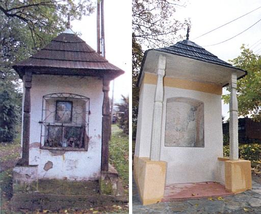 Památkově chráněná kaplička v Bělé kus naproti škole před a po rekonstrukci