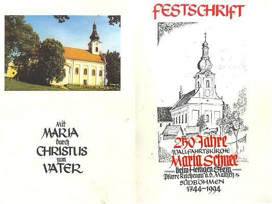 Obálka (1994) jím redigované pamětní brožury k 250. výročí poutního kostela Svatý Kámen