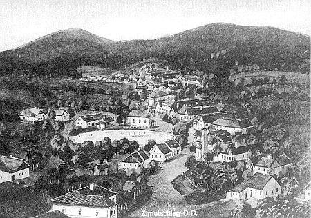 Bělá na pohlednici firmy Josef Prokopp z Vídně z válečných dob, kdy patřila k župě Ober-Donau (O.D.)